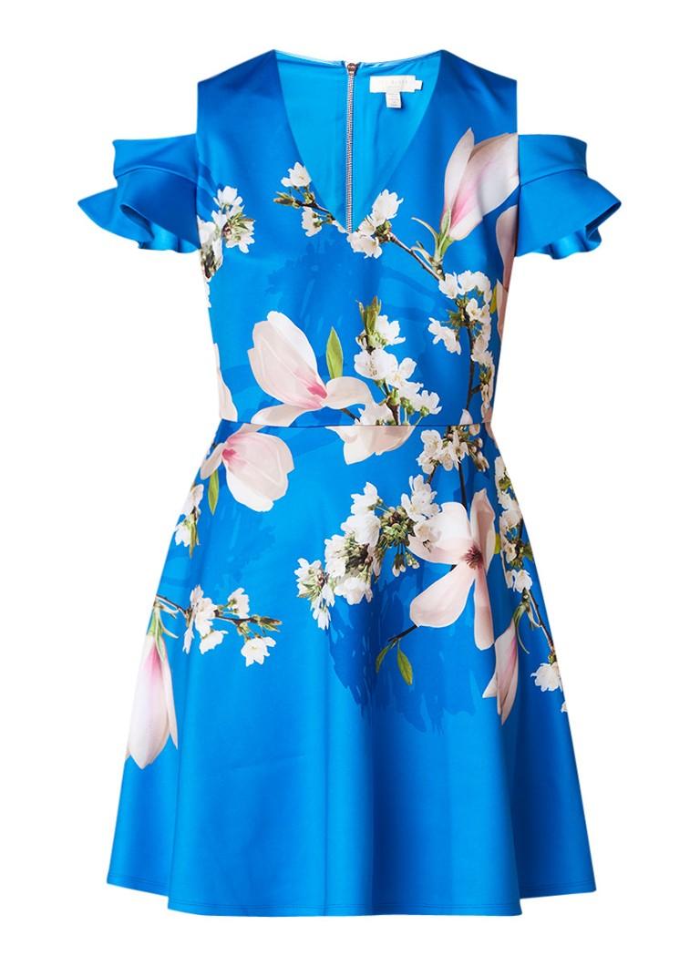 Ted Baker Ambre cold shoulder jurk met bloemendessin kobaltblauw
