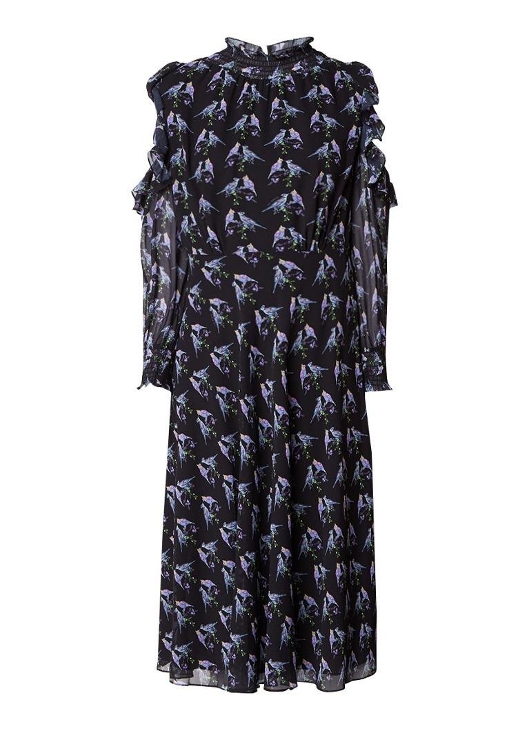 Ted Baker Hilaina cold shoulder jurk met ruches en vogeldessin zwart