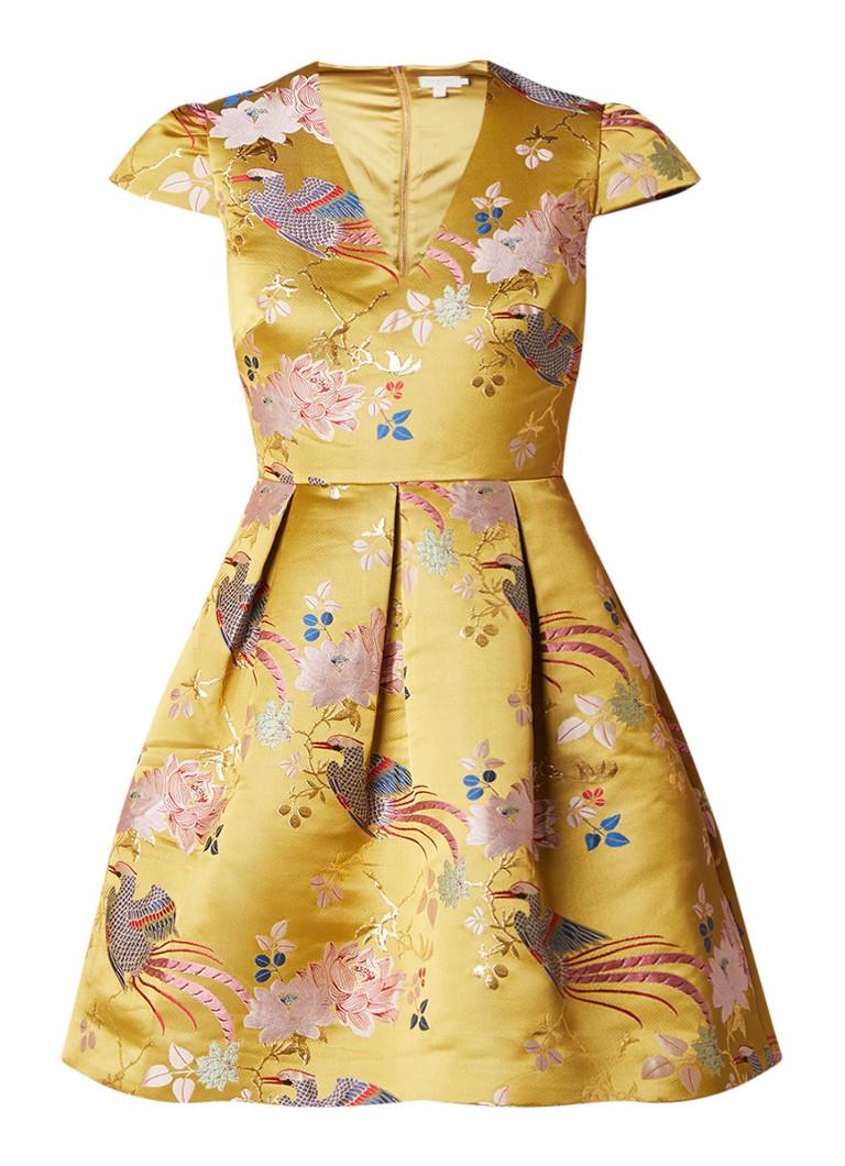 Ted Baker Denys A-lijn jurk met jacquarddessin mosterd
