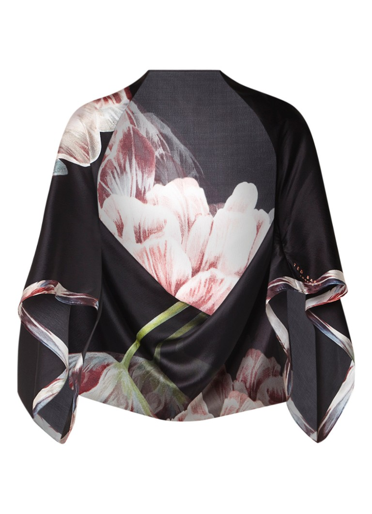 Ted Baker Cape sjaal van zijde met bloemendessin