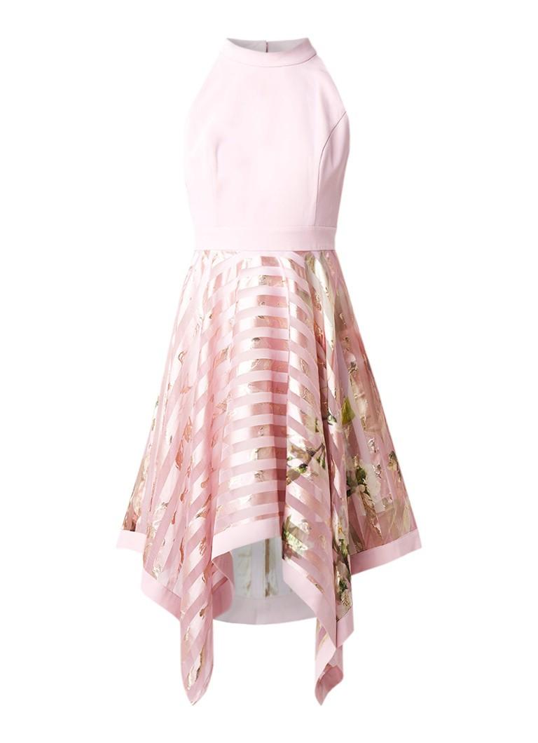 Ted Baker Harmony asymmetrische jurk met bloemendessin roze