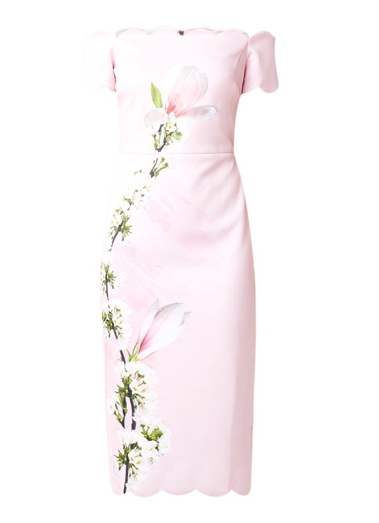 Ted Baker Kokerjurk van lichtgewicht neopreen met bloesemprint roze
