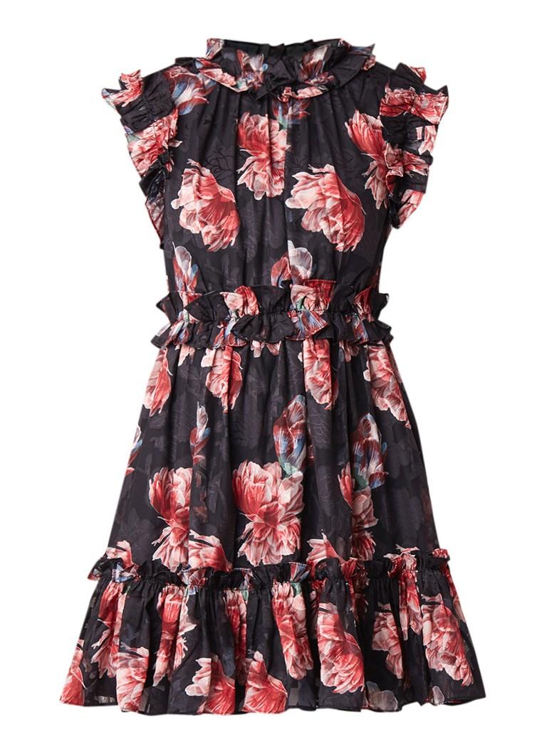 Ted Baker Fallonn A-lijn jurk met ruches en bloemendessin zwart