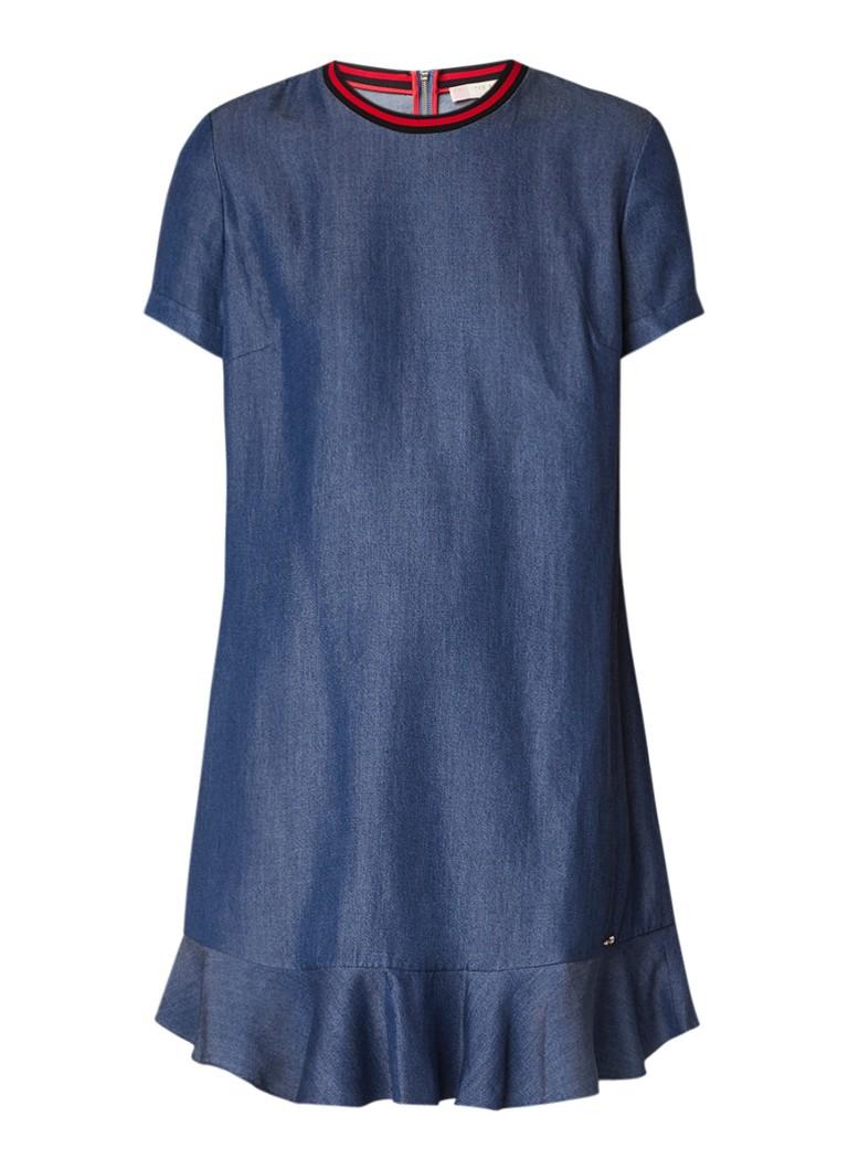 Ted Baker Mini-jurk van chambray met contrastboord indigo