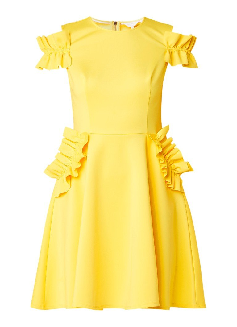 Ted Baker Deneese cold shoulder A-lijn jurk met ruches citroengeel