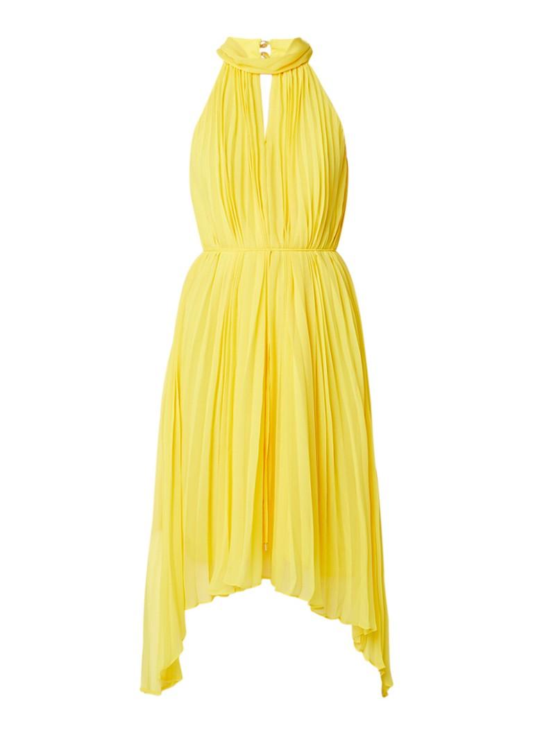 Ted Baker Nadette asymmetrische maxi-jurk met plissé en keyhole citroengeel