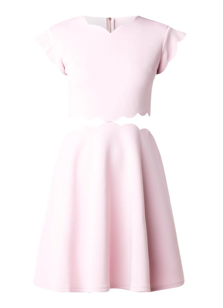 Ted Baker Owstie A-lijn jurk met detail van mesh lichtroze