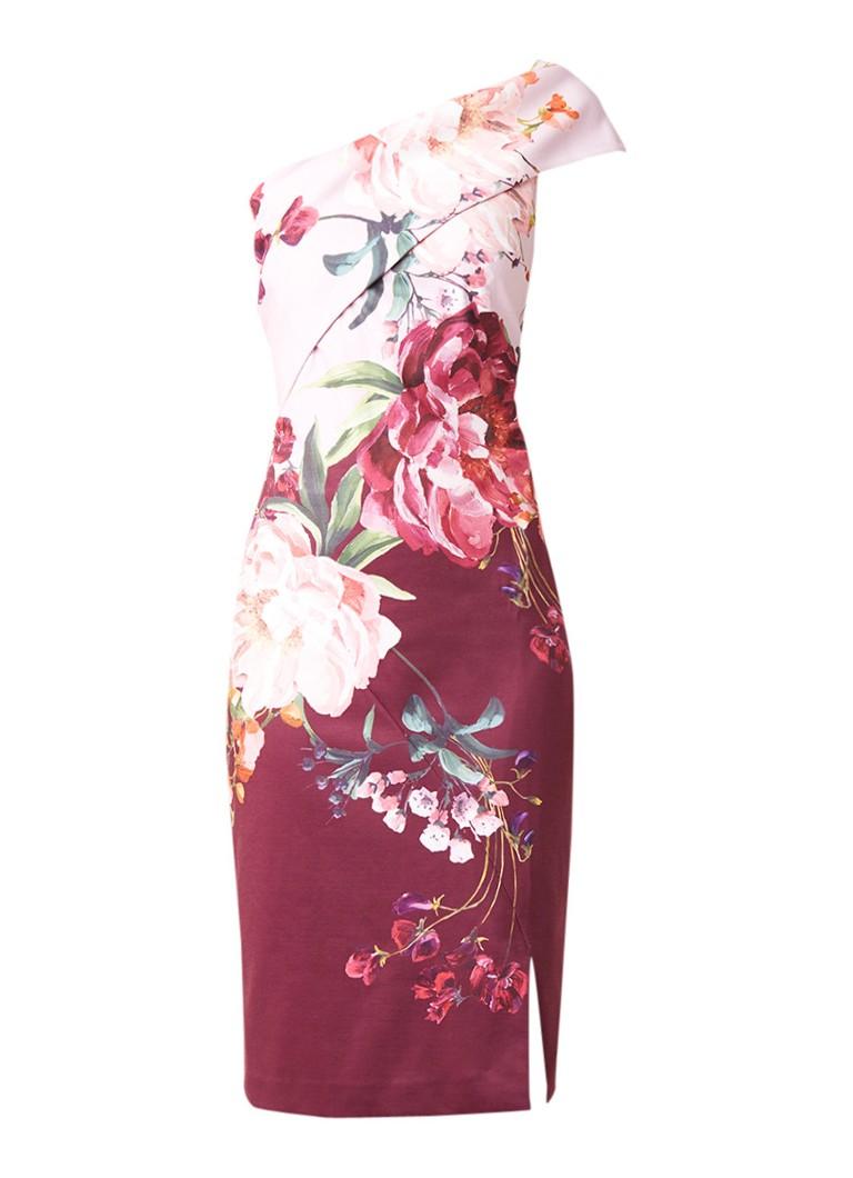 Ted Baker Irlina one shoulder jurk met bloemenprint roze
