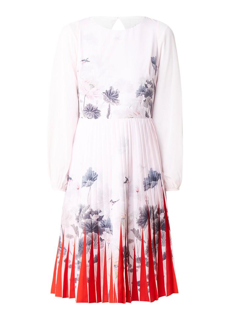 Ted Baker Prticha A-lijn jurk met bloemenprint en plissé roze