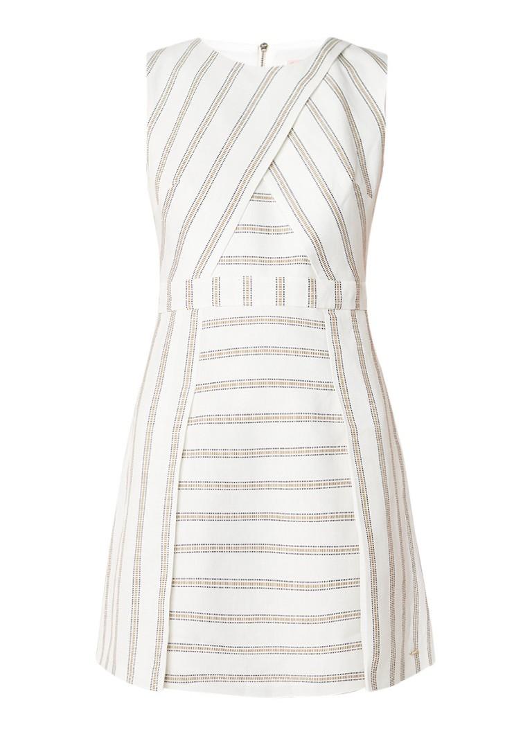 Ted Baker Ivory A-lijn jurk in linnenblend met streepdessin ivoor