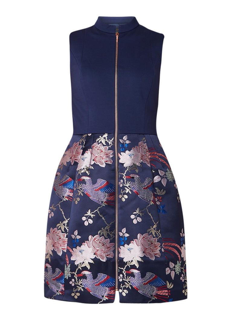 Ted Baker Bobyd A-lijn jurk met jacquard rok donkerblauw
