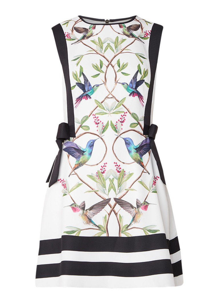 Ted Baker Kathiee A-lijn jurk met botanisch dessin en strikken wit