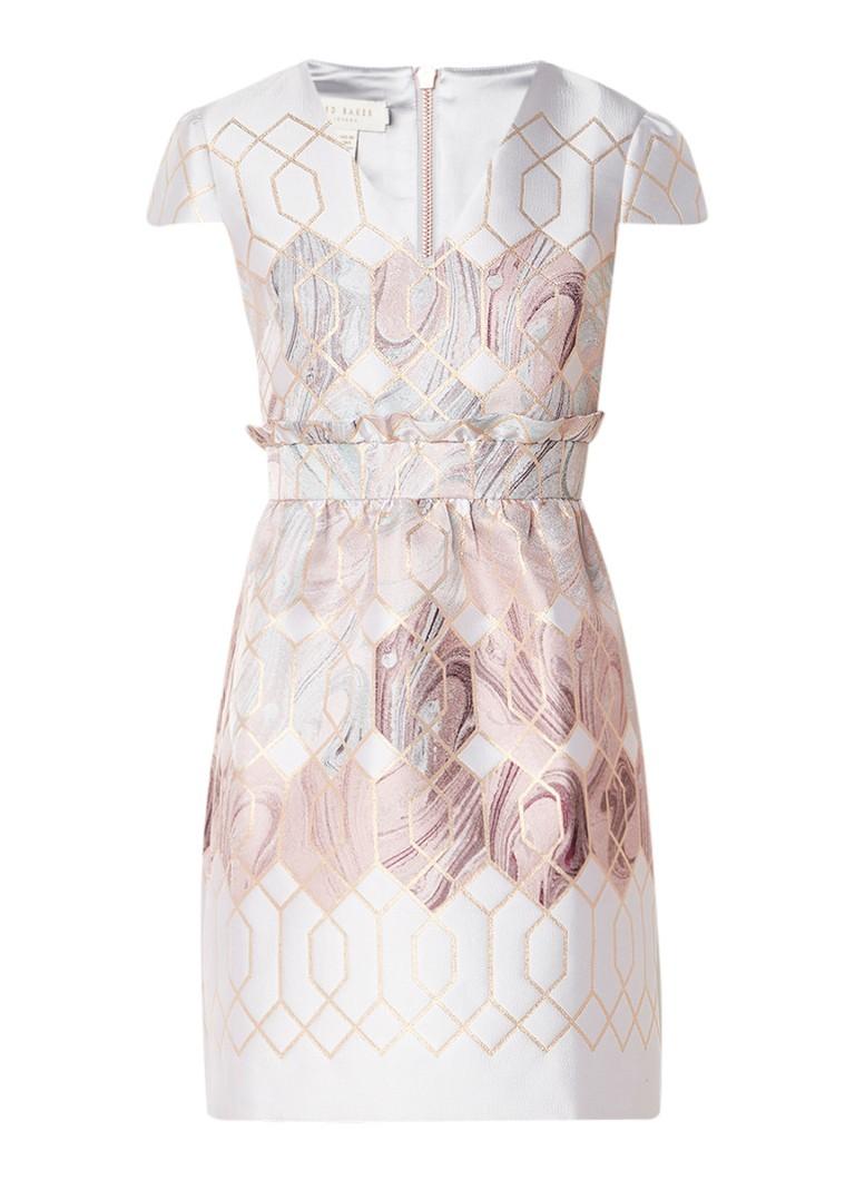 Ted Baker Ingrida A-lijn jurk met metallic detail lichtgrijs