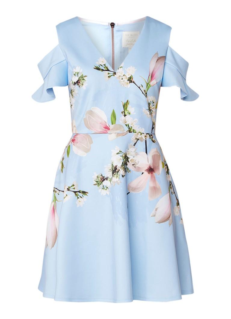 Ted Baker Effrae mini-jurk met bloemendessin en cold shoulder lichtblauw