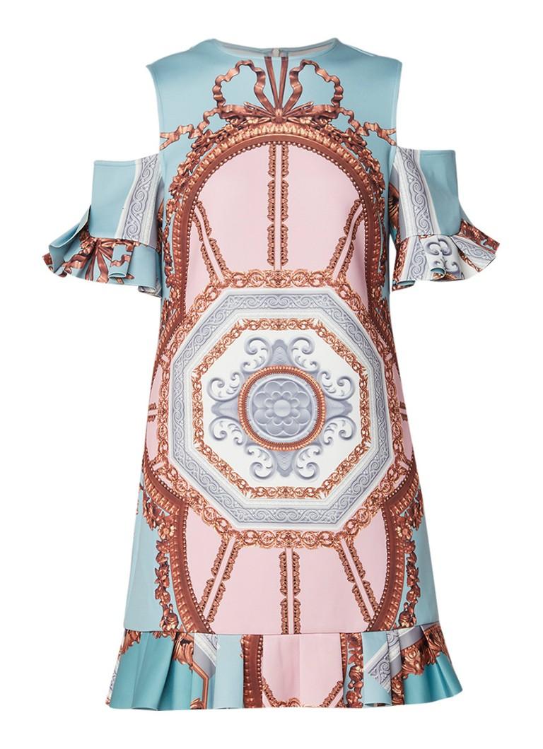 Ted Baker Versailles cold shoulder midi-jurk met ruches en print groen