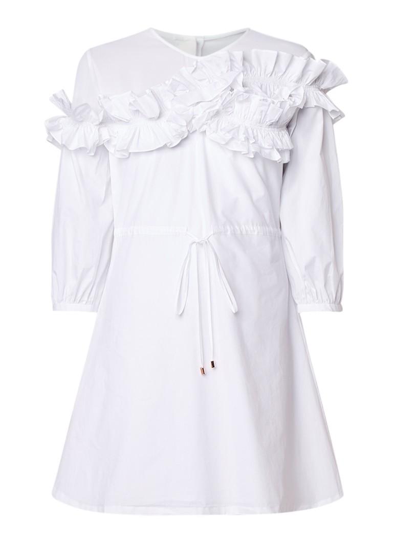 Ted Baker Midi-jurk met semi-transparante inzet en ruches wit