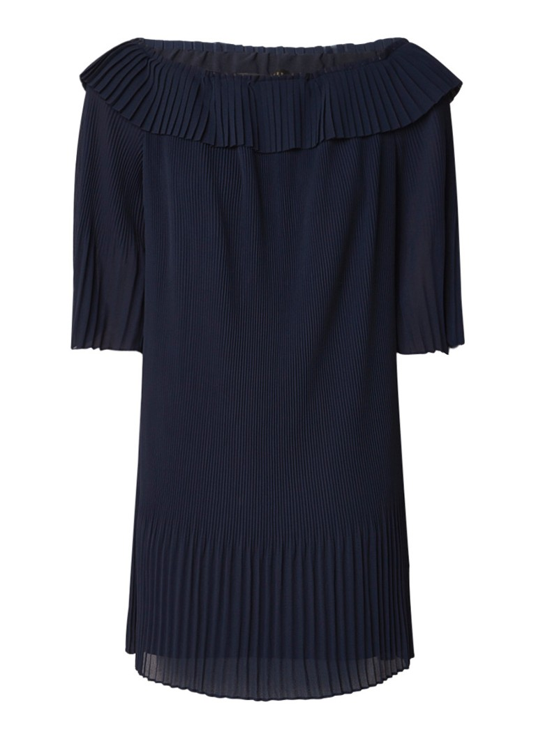 Ted Baker Franeis off shoulder jurk met plissé en volant donkerblauw