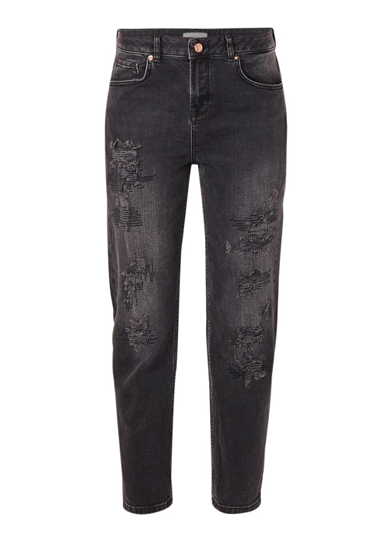 Ted Baker Hettey mid rise boyfriend fit cropped jeans met strass