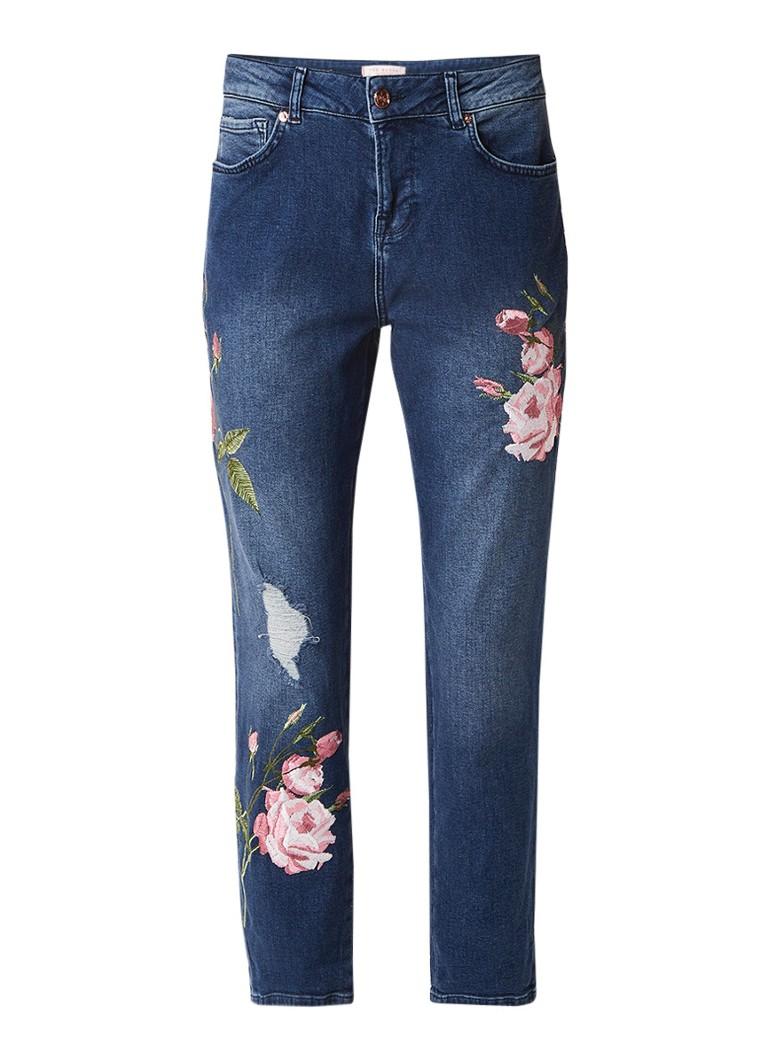 Ted Baker High rise boyfriend fit jeans met broderie