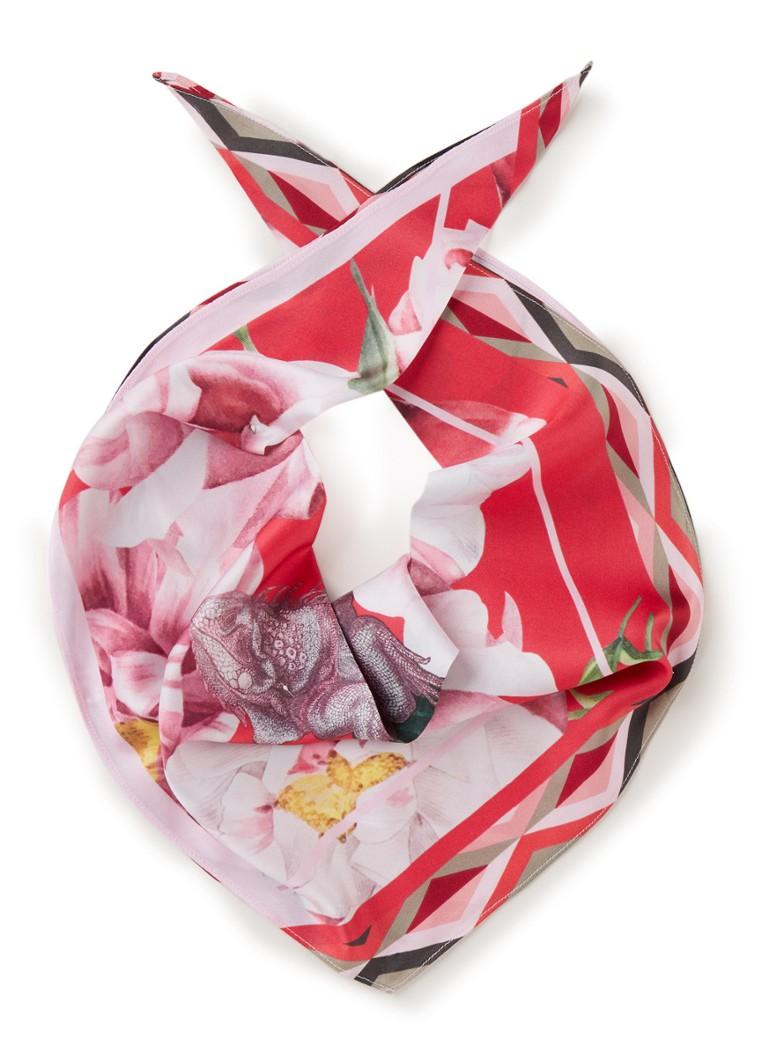 Ted Baker Iguazu sjaal van zijde met bloemendessin 60 x 60 cm