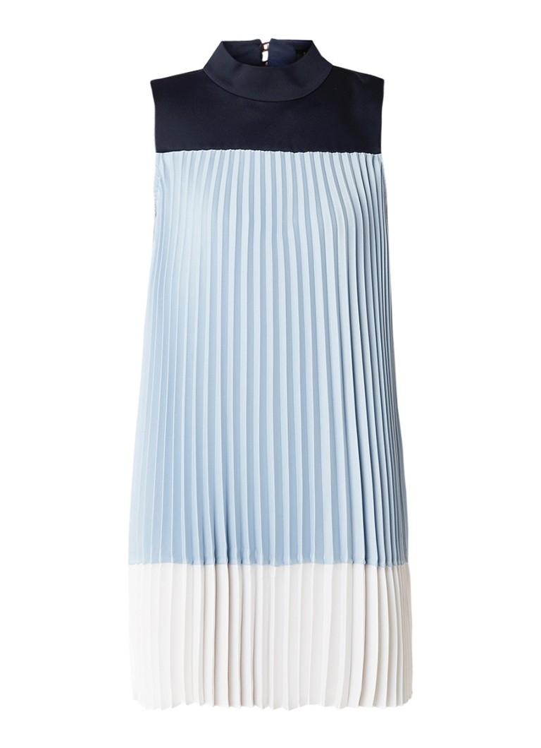 Ted Baker A-lijn jurk met plissé en colour blocking lichtblauw