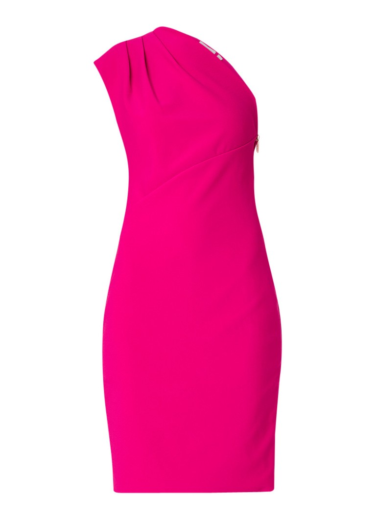 Ted Baker Bettiea one shoulder jurk met doorlopende rits fuchsia