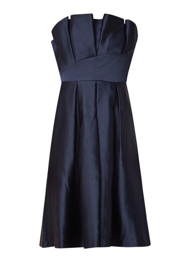Ted Baker Pippaa A-lijn jurk van satijn met plooien donkerblauw