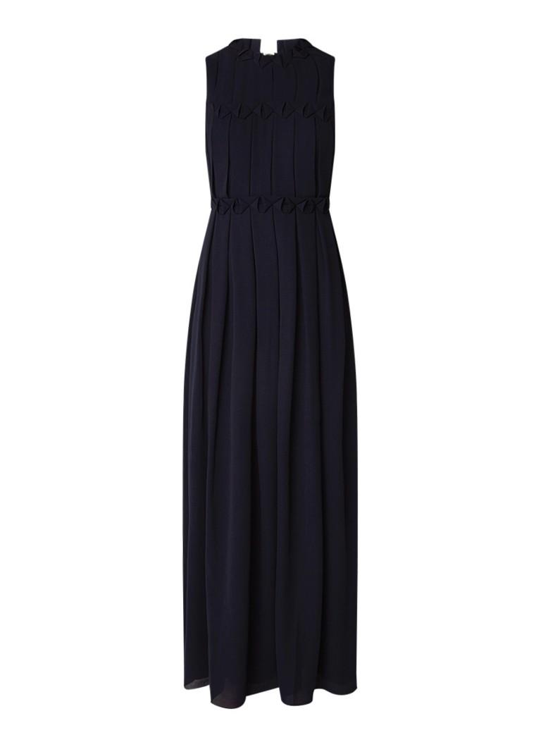 Ted Baker Saffrom maxi-jurk met plissé donkerblauw