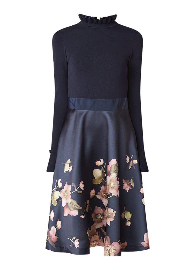 Ted Baker Seema A-lijn jurk met bloemendessin donkerblauw