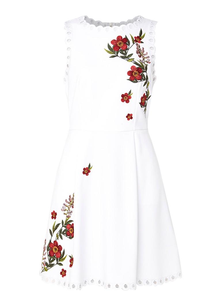 Ted Baker Kristil Kirstenbosch A-lijn jurk met bloemborduring en broderie wit