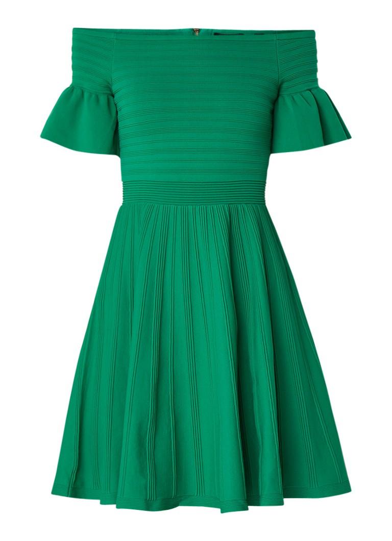 Ted Baker Off shoulder jurk met ingebreid streepdessin groen