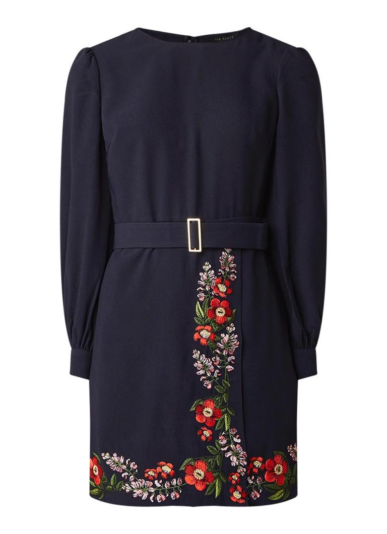 Ted Baker Kirstenbosch midi-jurk van crêpe met bloemborduring donkerblauw