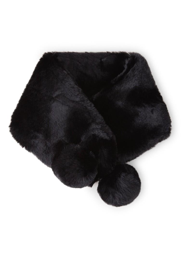 Image of Ted Baker Zali sjaal van imitatiebont met pompons 85 x 20 cm