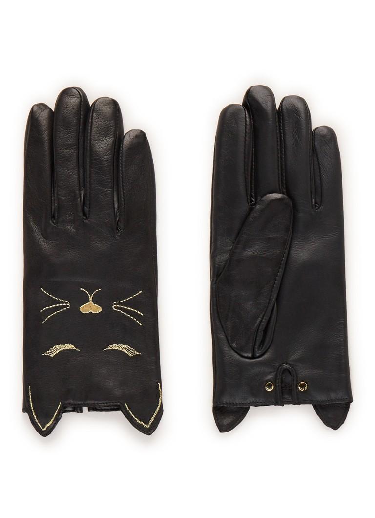 Ted Baker Caat handschoenen van leer met borduring