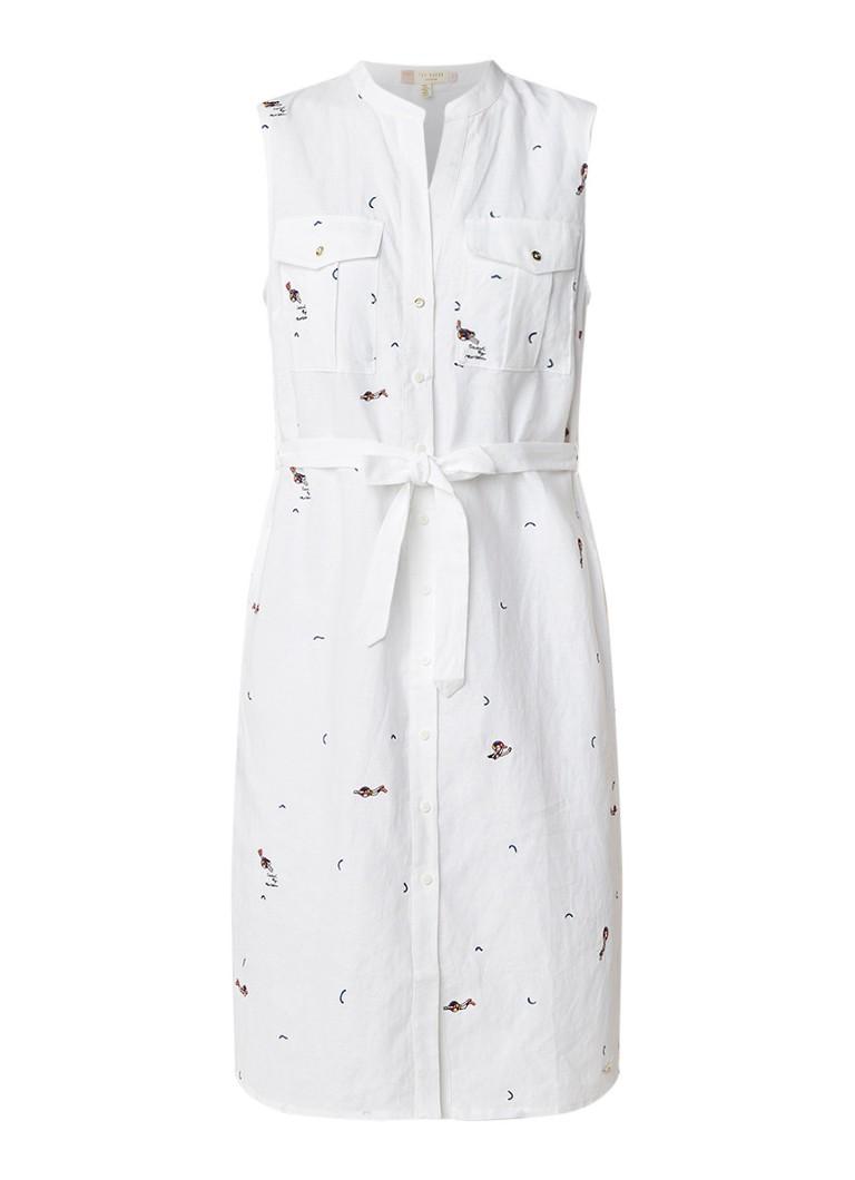 Ted Baker Xxena blousejurk met geborduurd dessin gebroken wit