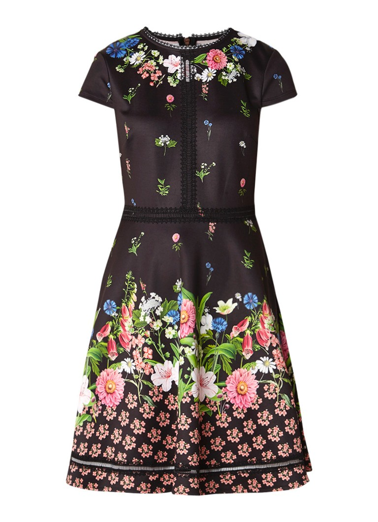 Ted Baker Daissie A-lijn jurk met bloemendessin zwart