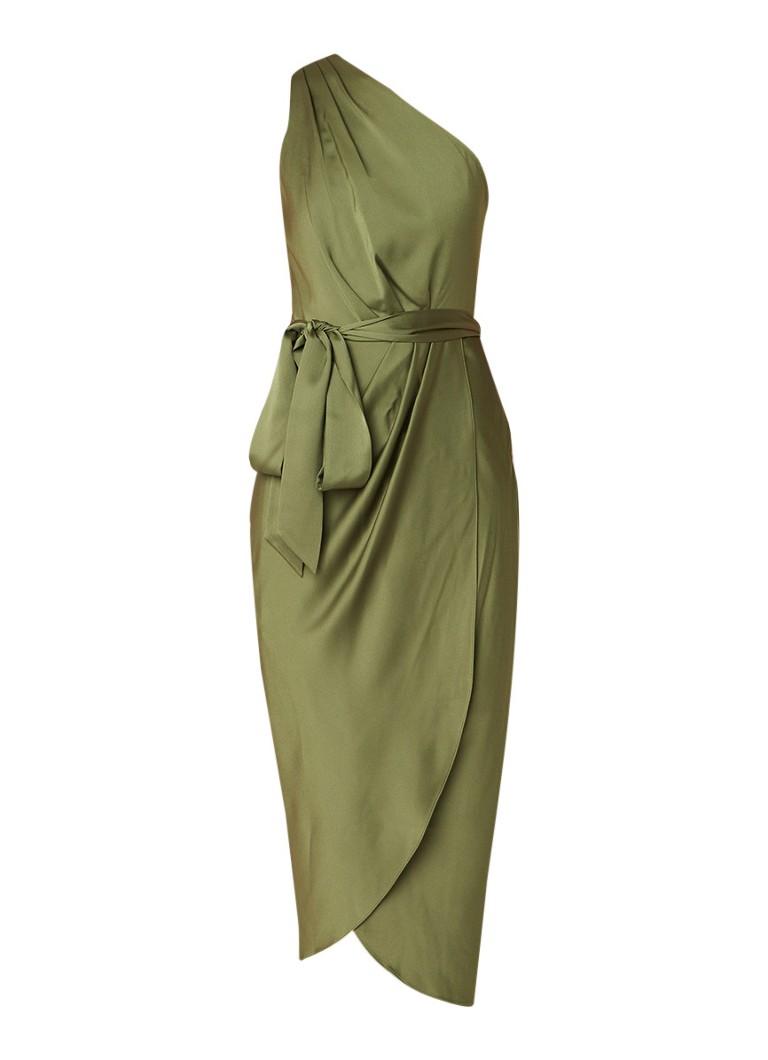 Ted Baker Gabie one shoulder jurk van satijn met strikceintuur groen