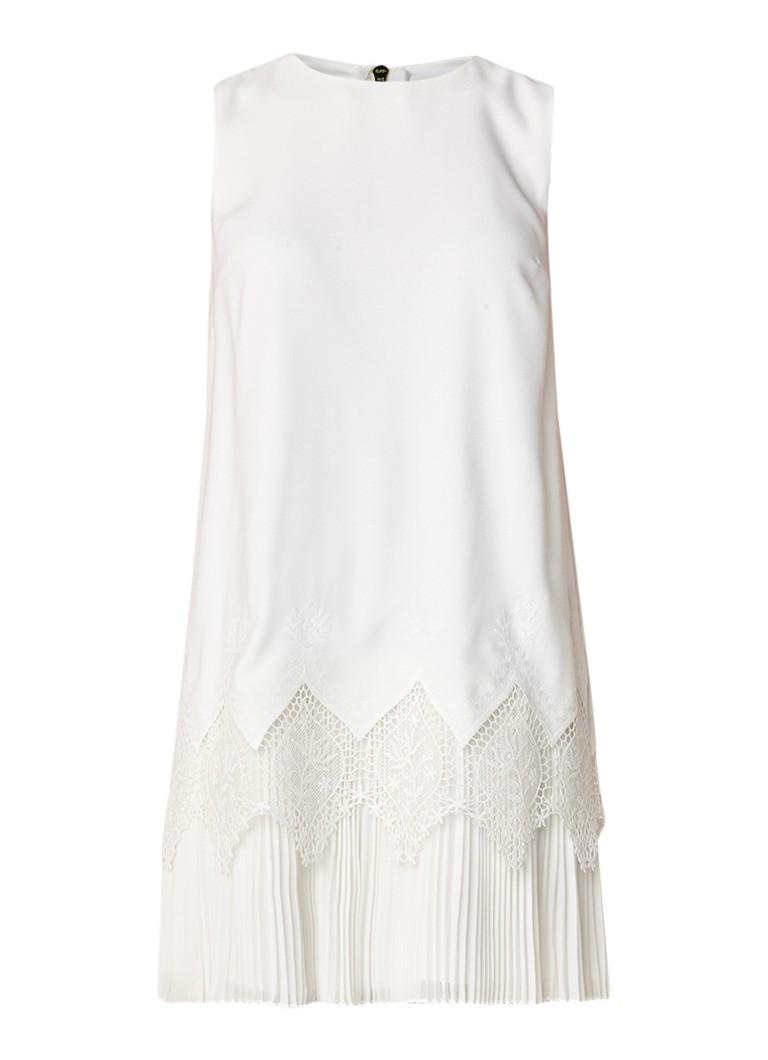 Ted Baker Nadeen midi-jurk met geplooide zoom en kant gebroken wit