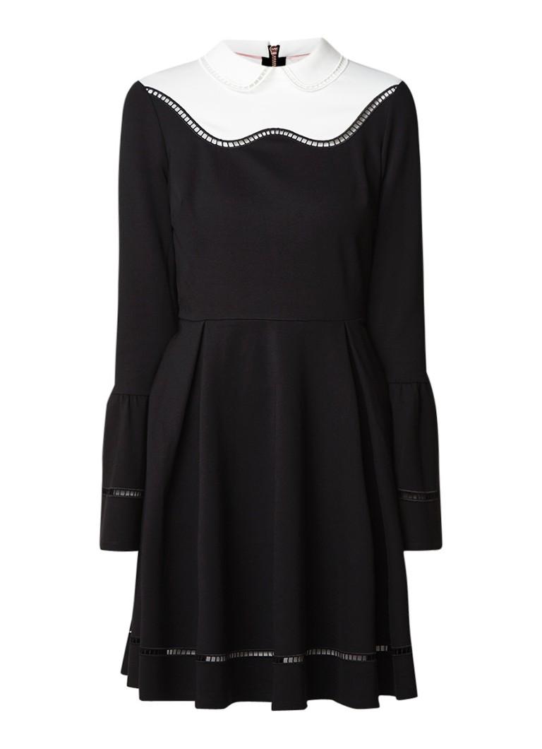 Ted Baker Pippey A-lijn jurk met opengewerkte bies zwart