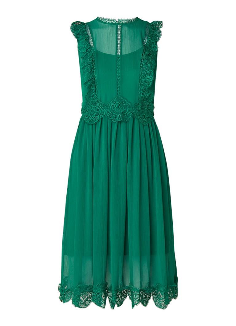 Ted Baker Porrla midi-jurk met kant en plooi detail groen