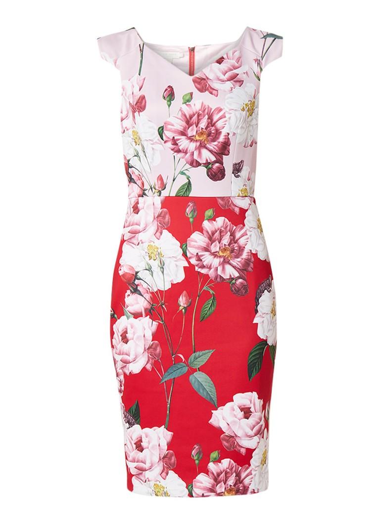 Ted Baker Iguza midi-jurk met bloemendessin rood