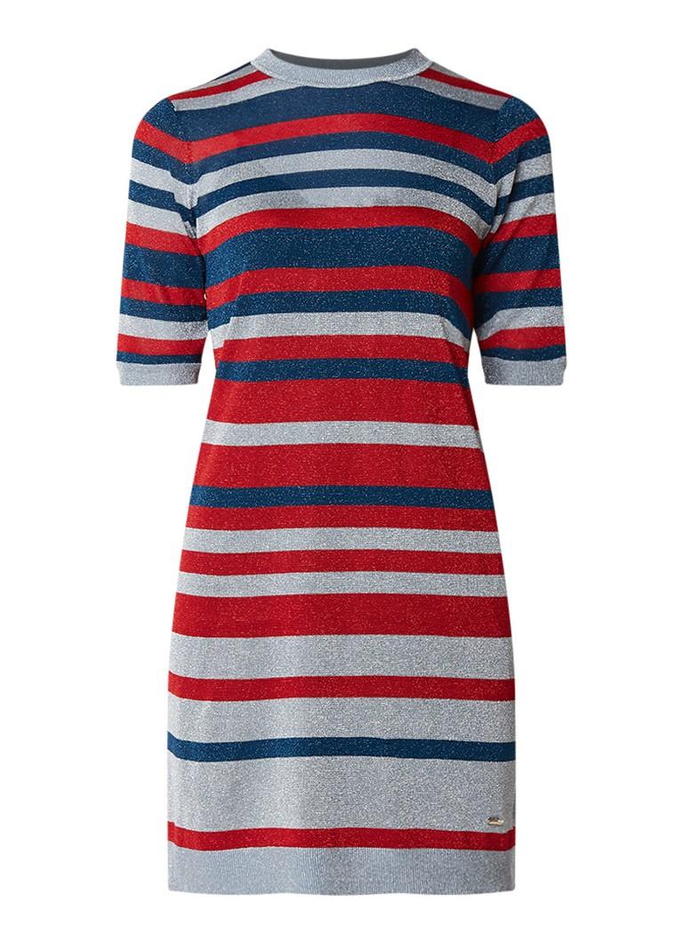 Ted Baker Fijngebreide jurk met streepdessin en lurex rood