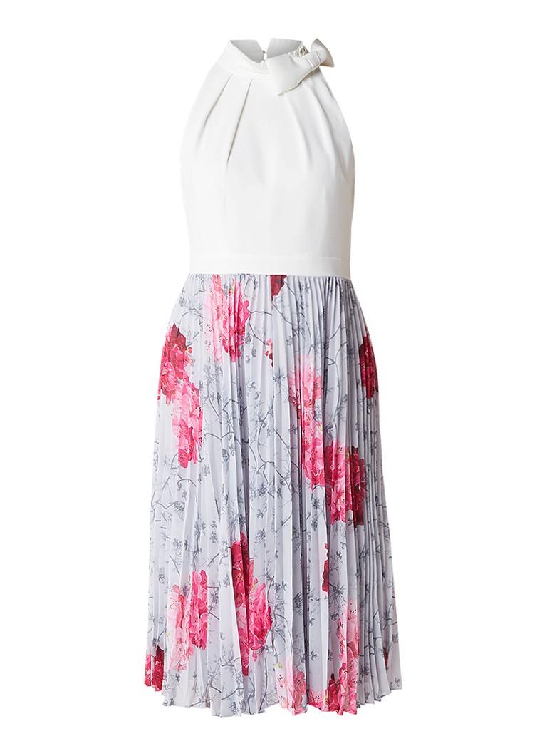 Ted Baker Cornala A-lijn jurk met plissé en strikdetail lichtgrijs