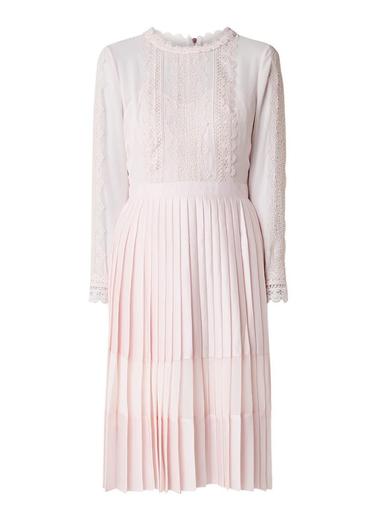 Ted Baker Looez A-lijn jurk met plissé en kantdetail donkerblauw