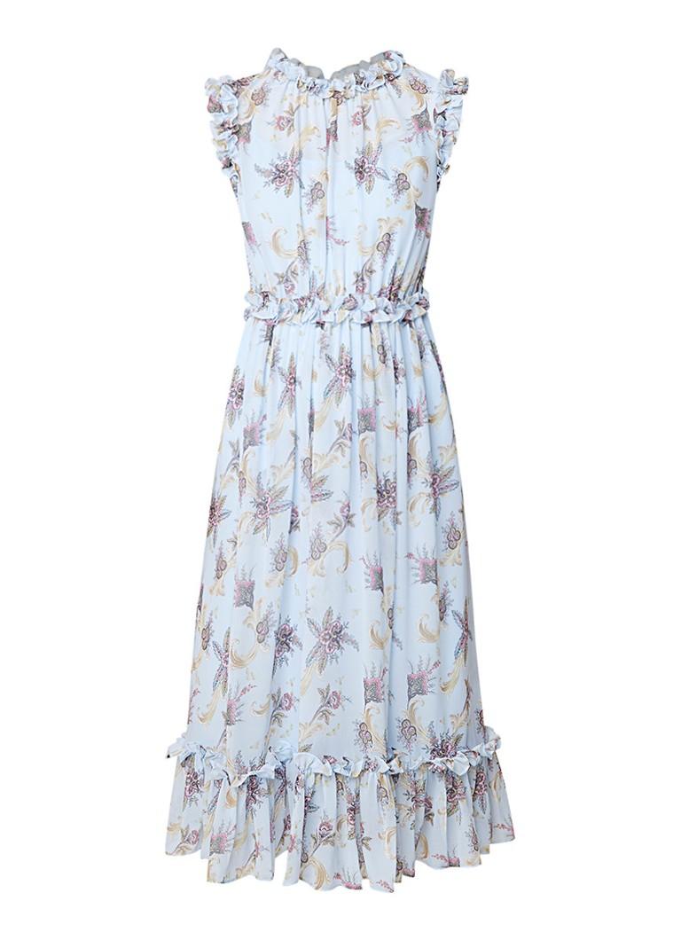 Ted Baker Nikkiie mouwloze A-lijn jurk met bloemendessin en ruches lichtblauw