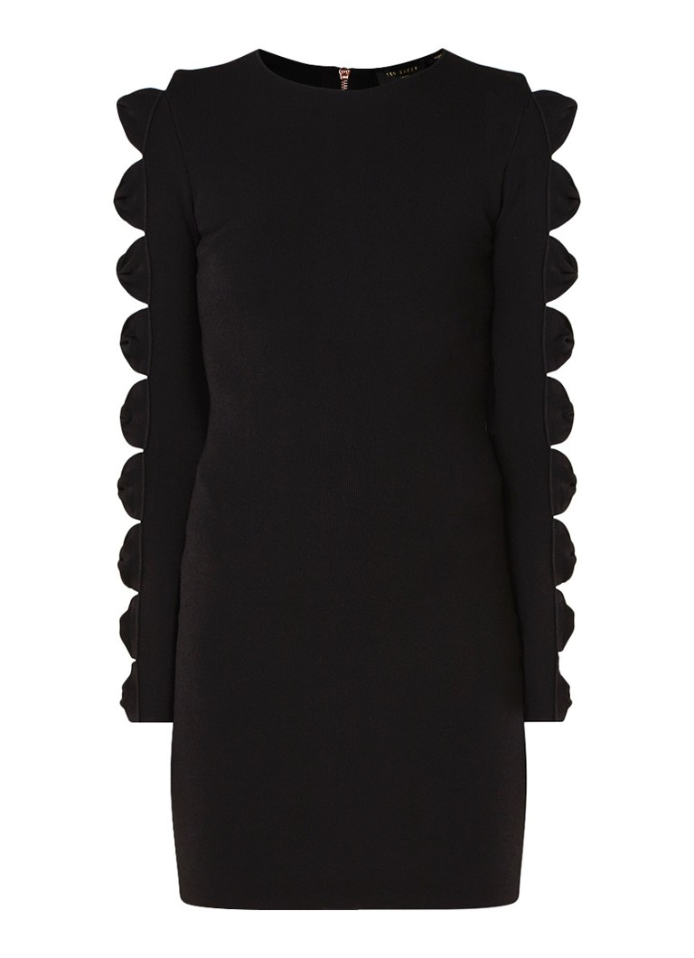 Ted Baker Jayney ribgebreide mini-jurk met opengewerkte details zwart
