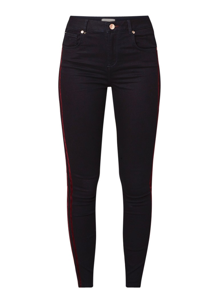 Image of Ted Baker Mehlia skinny fit 5-pocket broek met details van fluweel