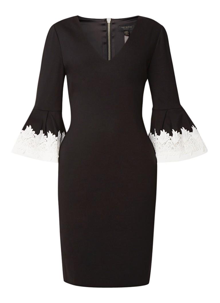 Ted Baker Rastrel midi-jurk met klokkende mouw en kant zwart