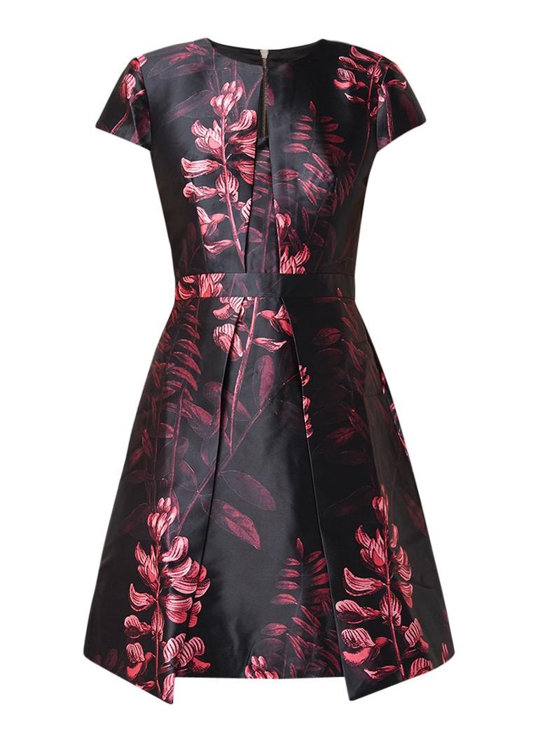 Ted Baker Jebby A-lijn jurk met plooien en bloemendessin zwart