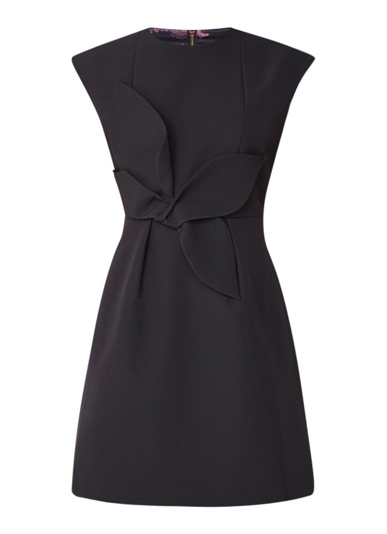Ted Baker Ppollyd A-lijn midi-jurk met strikdetail zwart